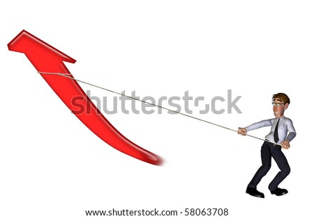 3d businessman  arrow up and going on white - stock photo