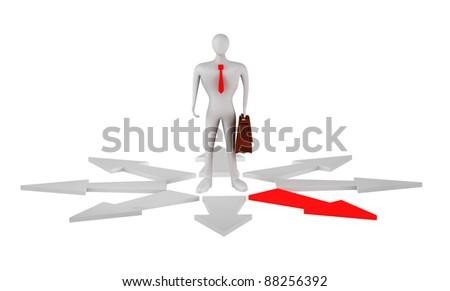 3d businessman before a choice - stock photo