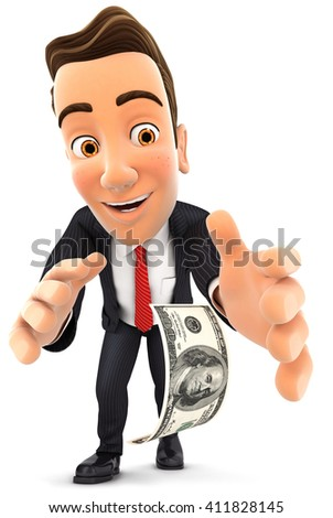 3d businessman bending down to pick up dollar bill, isolated white background