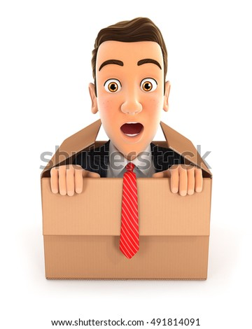 3d businessman coming out of the box, illustration with isolated white background