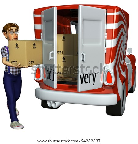 3d businessman courier carryng the box - stock photo