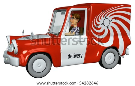 3d businessman courier driven away - stock photo