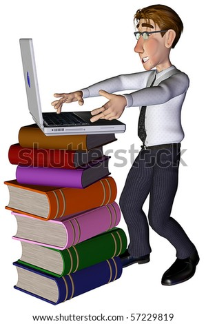 3d businessman e-learning - stock photo