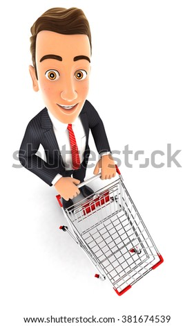 3d businessman empty supermarket trolley, isolated white background
