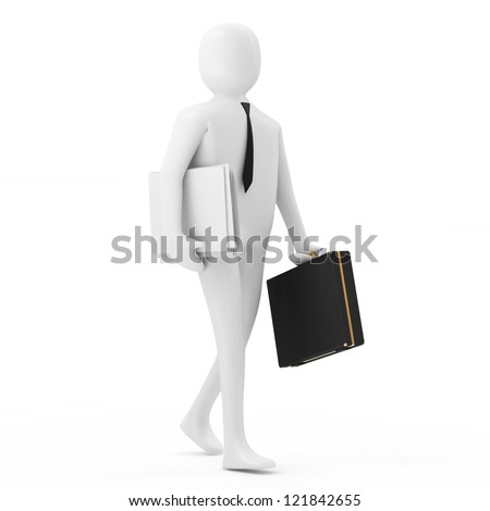 3d Businessman Goes to a Meeting - stock photo
