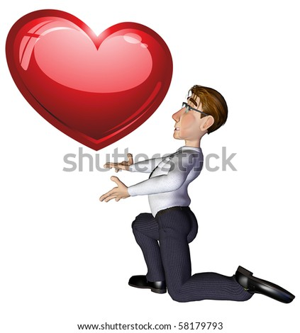 3d businessman heart - stock photo