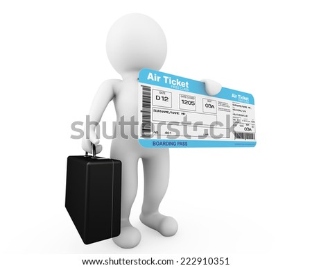 3d businessman hold Airline boarding pass ticket on a white background - stock photo