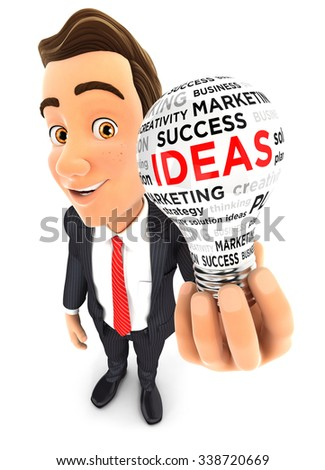 3d businessman holding a conceptual light bulb, isolated white background