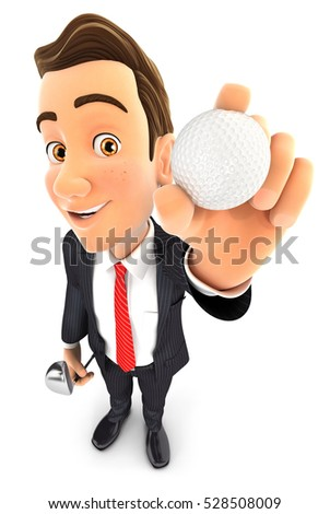 3d businessman holding golf ball, illustration with isolated white background