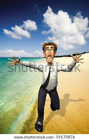 3d businessman holiday - stock photo