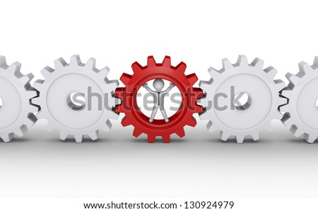 3d businessman inside cogwheel as the important part of engine - stock photo