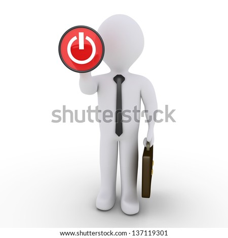 3d businessman is about to press the power button - stock photo