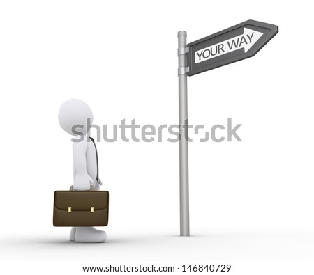 3d businessman is looking up at sign to find his own path