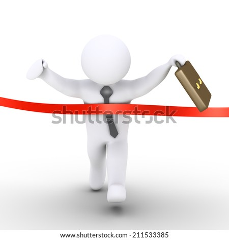 3d businessman is running and finishes the race first - stock photo