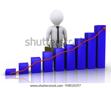 3d businessman is standing behind a blue chart with arrow - stock photo