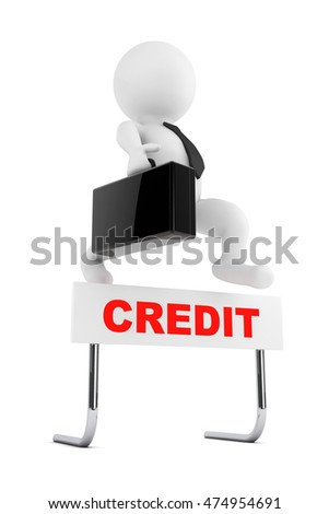 3d Businessman jump over the Problems barrier on a white background. 3d Rendering