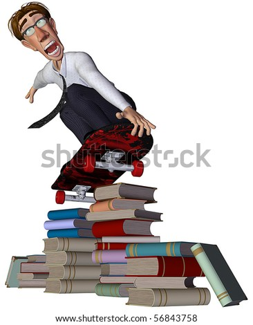 3d businessman jumping the books wit a skate - stock photo