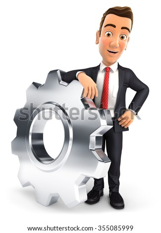 3d businessman leaning on a gear, isolated white background