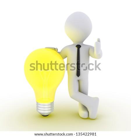 3d businessman leaning on a light bulb beside him - stock photo