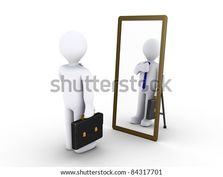 3d businessman looking in a mirror to become presentable - stock photo