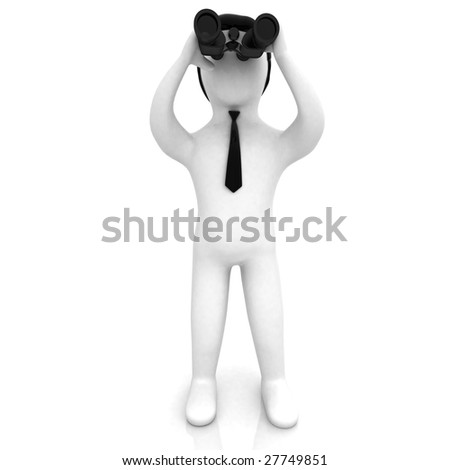 3D businessman looking through binoculars on isolated white background - stock photo