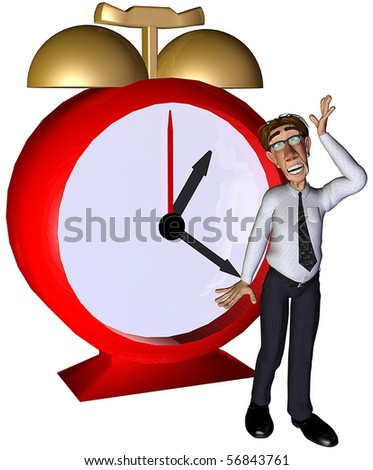 3d businessman lost the time - stock photo