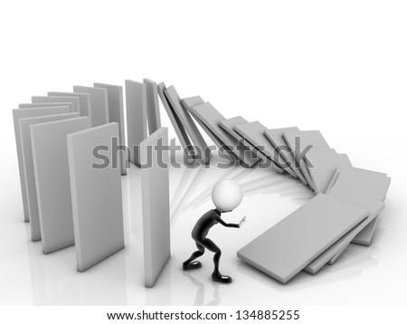 3D Businessman near a stack of columms. - stock photo