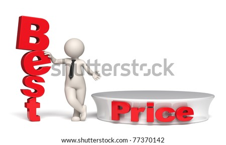 3d businessman offering best price near a red empty podium - Isolated