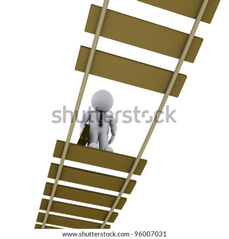 3d businessman on damaged suspended bridge is looking down - stock photo