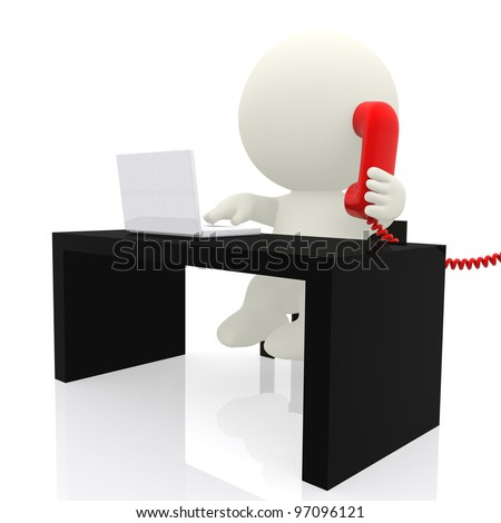 3d businessman on the phone  - isolated over a white background - stock photo