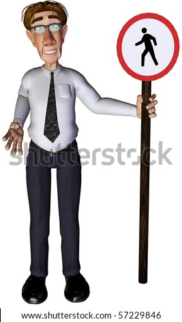 3d businessman pedestrian sign - stock photo