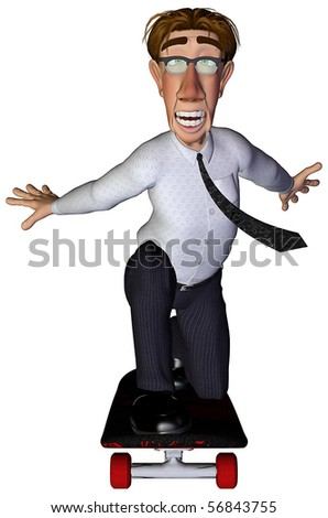 3d businessman plus skateboard - stock photo