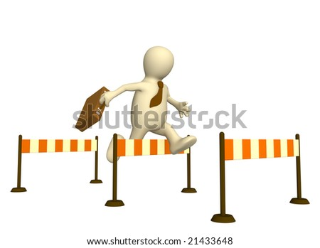 3d businessman - puppet, jumping through a barrier