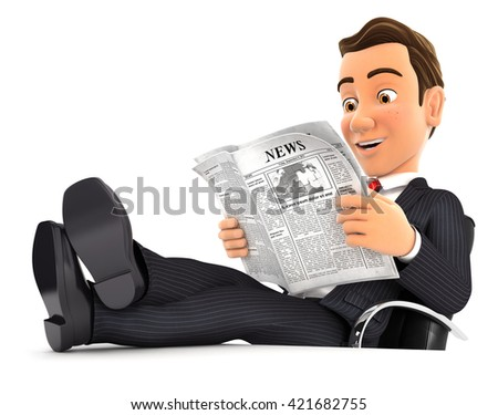 3d businessman reading newspaper with feet on desk, isolated white background