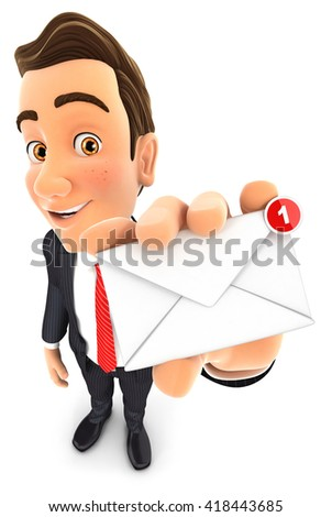 3d businessman receiving one new message, isolated white background