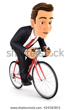 3d businessman riding a bike, illustration with isolated white background