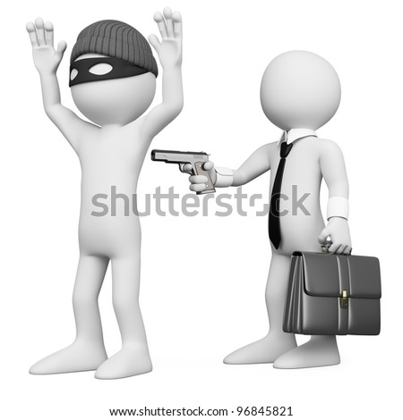 3D businessman robbing a robber. Rendered at high resolution on a white background with diffuse shadows. - stock photo