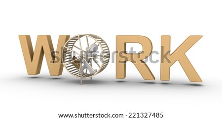 3d businessman running inside a hamster wheel as part of the WORK word - stock photo