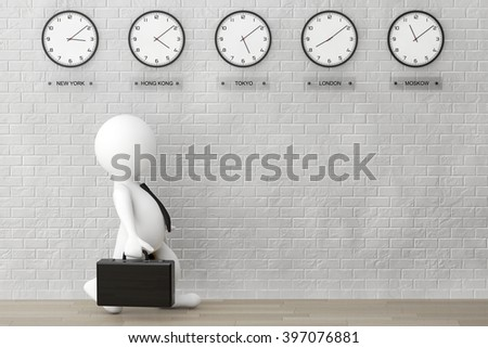 3d Businessman running with a Briefcase in front of Time Zone Clocks and brick wall - stock photo