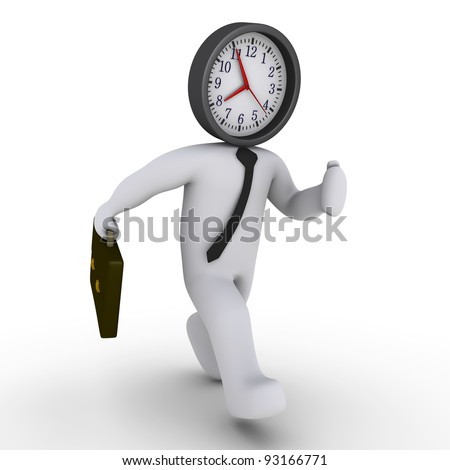 3d businessman running with a clock instead of his head