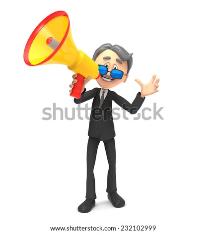 3d businessman screaming  - stock photo