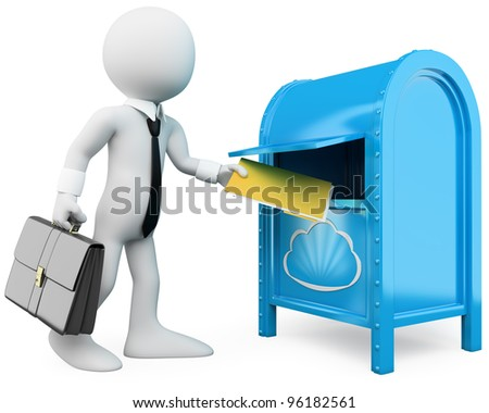 3D businessman sending documents to the cloud. Rendered at high resolution on a white background with diffuse shadows.