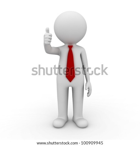 3d businessman showing thumbs up on white background - stock photo