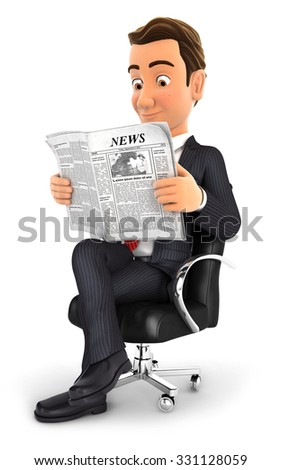 3d businessman sitting on chair and reading a newspaper, isolated white background