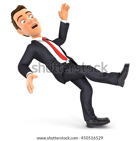 3d businessman slipping and falling, illustration with isolated white background