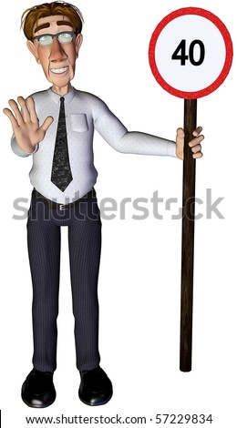 3d businessman speed limit sign - stock photo