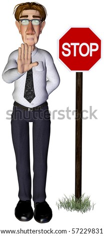 3d businessman stop sign - stock photo