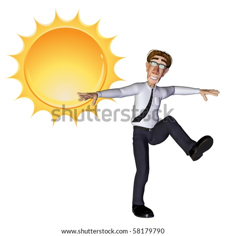 3d businessman sun - stock photo