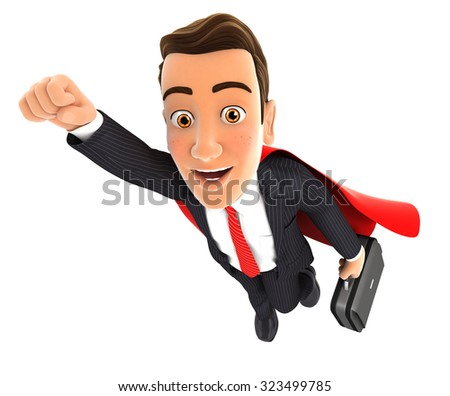 3d businessman superhero, isolated white background