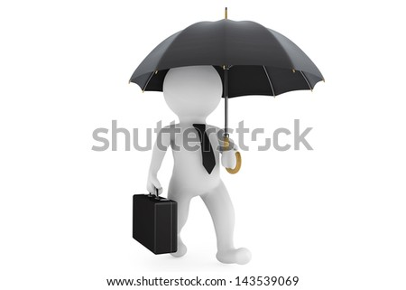 3d businessman under the protection umbrella on a white background - stock photo